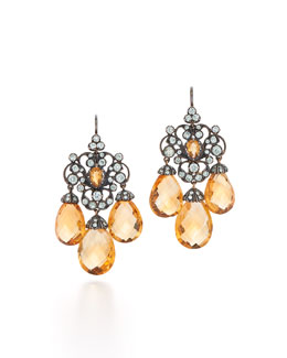 Citrine & Diamond Chandelier Earrings