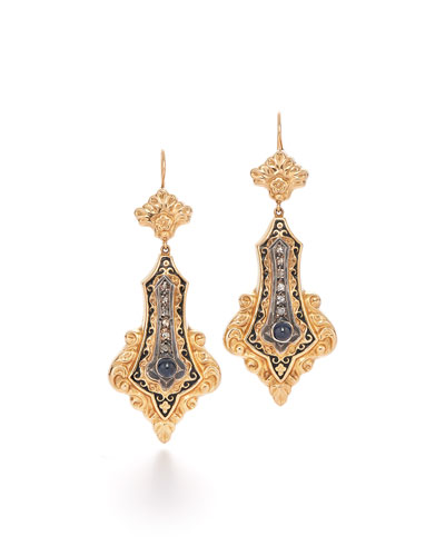 19th Century Sapphire & Diamond Drop Earrings