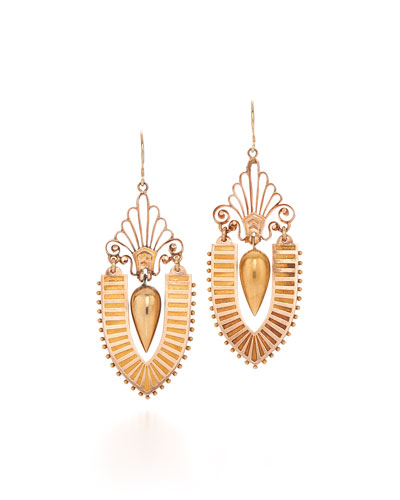 19th Century Gold Urn Pendant Earrings