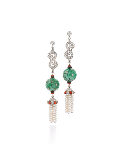 Contemporary Jade Bead, Diamond & Coral Triple-Drop Earrings