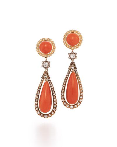 19th Century Coral & Diamond Teardrop Earrings
