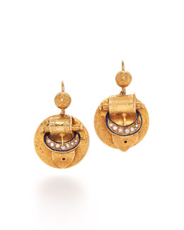 Victorian Yellow Gold & Pearl Buckle Pendant Earrings