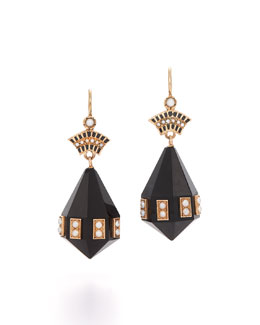 Victorian Onyx & Pearl Pendant Earrings