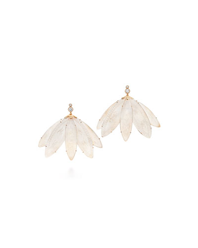 Diamond & Mother-of-Pearl Engraved Fan Earrings