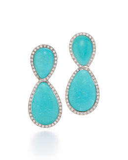 1960s Turquoise & Diamond Clip Earrings