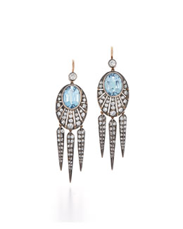 Aquamarine and Diamond Rayed Dart Drop Earrings