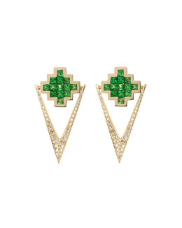 Tsavorite & Brown Diamond V Drop Earrings
