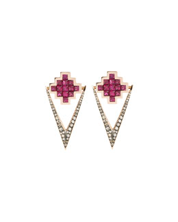 Ruby & Brown Diamond V Drop Earrings