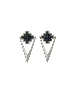 Black Sapphire V Drop Earrings