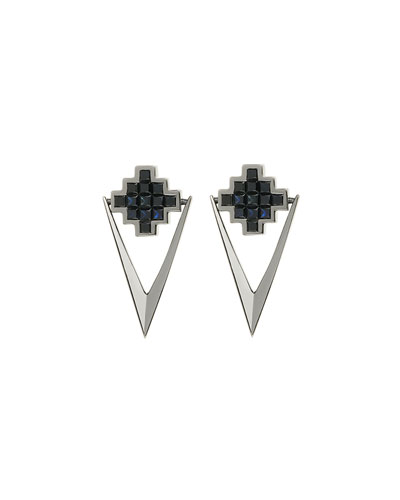 Black Sapphire V Drop Earrings