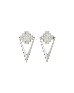 White Diamond V Drop Earrings
