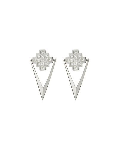 White Diamond V Drop Earrings
