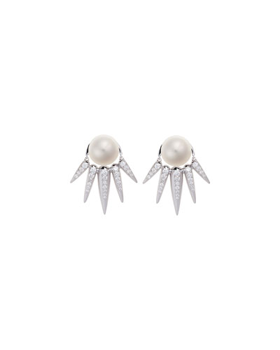 Spectrum Pearl & Diamond Spike Earrings