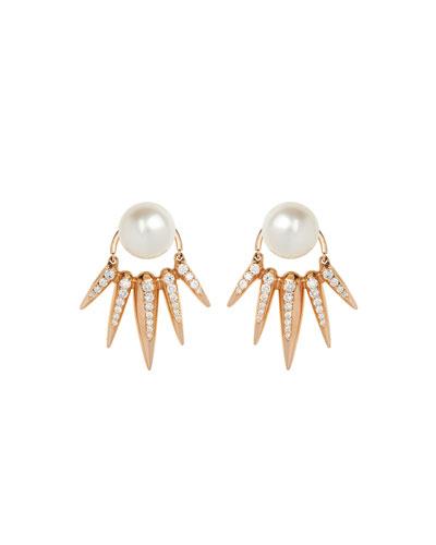 Nikos Koulis Spectrum 18K Pearl Earrings w/Diamond Spikes