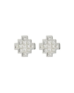 White Diamond V Button Earrings