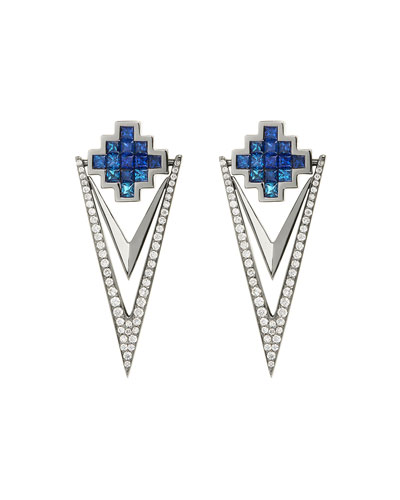 Blue Sapphire & Diamond V Drop Earrings