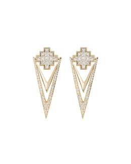 18k Yellow Gold & Diamond V Drop Earrings
