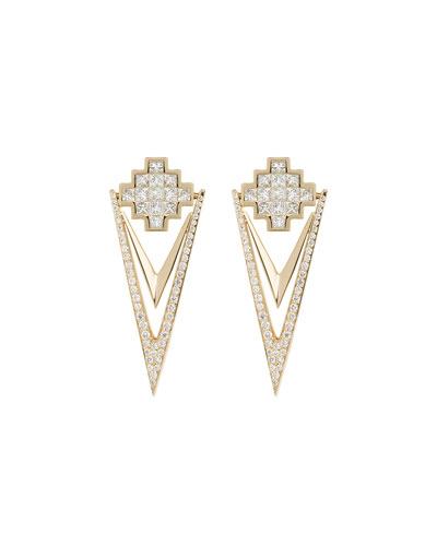 18k Yellow Gold & Diamond V Drop Earrings
