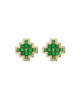 Tsavorite V Button Earrings