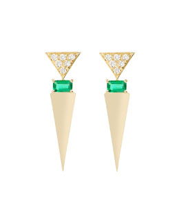 Geometric Diamond & Emerald V Earrings