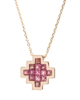 Pink Tourmaline V Pendant Necklace