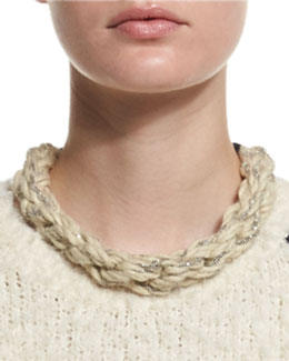 Monili-Chain Rope Collar Necklace, Beige