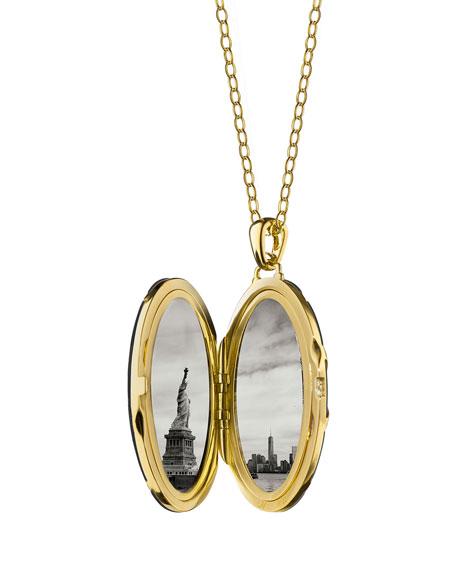 Monica Rich Kosann 18K Gold Diamond-Striped Ceramic Locket Necklace QPBjDB9gIB