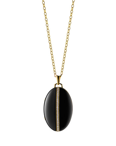 18K Gold Diamond-Striped Ceramic Locket Necklace, 32