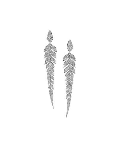 Magnipheasant Pavé Diamond Earrings in 18k White Gold