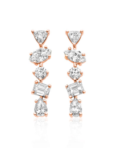 18K Rose Gold Mixed Diamond Bar Earrings