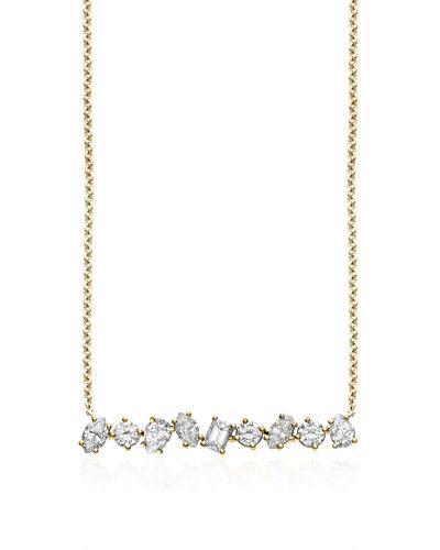 18K Gold Mixed Diamond Bar Necklace