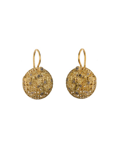 18K Gold Wire Lace & Champagne Diamond Earrings