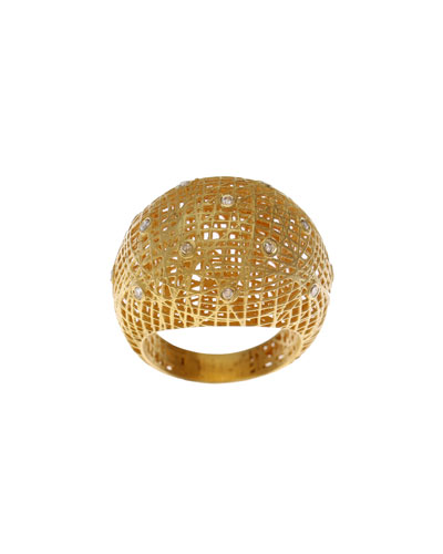 Roxanne Wire-Lace 18k Gold Dome Ring
