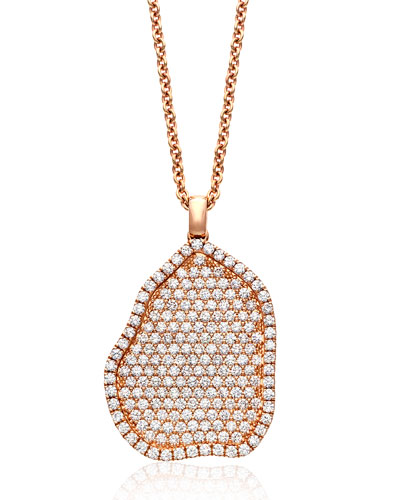18K Rose-Gold Pavé Diamond Pendant Necklace