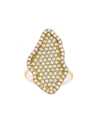 18k Gold Pavé Diamond Geode-Shaped Ring, Size 6