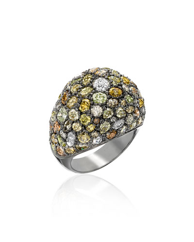 Multicolor Diamond Dome Ring, Size 6