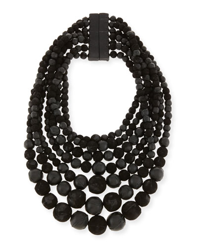 Multi-Strand Leather Bead Necklace, Black