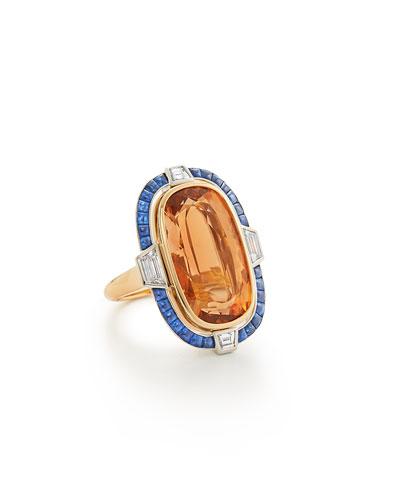 18K Precious Topaz, Sapphire & Diamond Ring