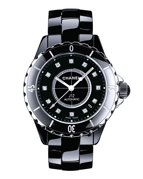 J12 Black 38MM Ceramic Watch with Diamonds