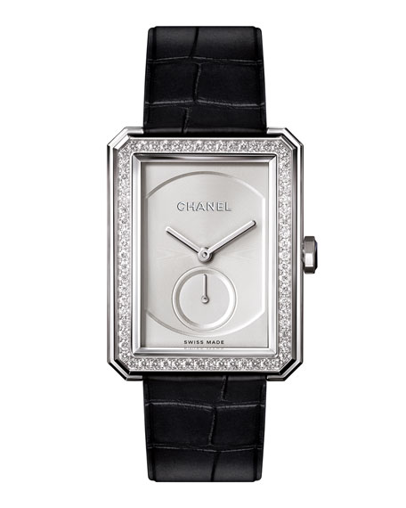 BOY·FRIEND 18K White Gold Watch with Diamonds, Large Size
