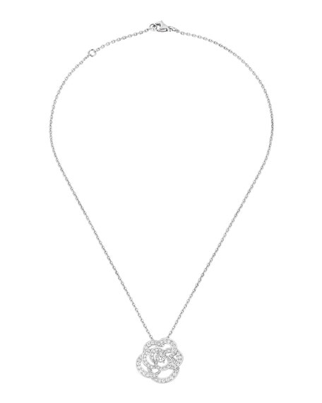 CAMELIA Necklace in 18K White Gold with Diamonds