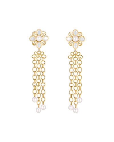 PERLE CHAÎNES Earrings in 18K Yellow Gold, Cultured pearls, Mother-of-pearl and Diamonds