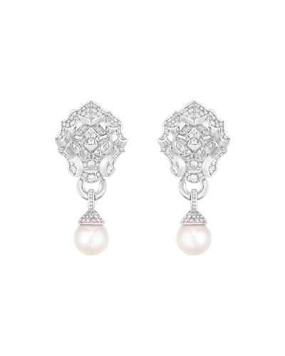LION Earrings in 18K White Gold, Cultured Pearls and Diamonds