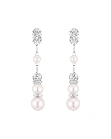 PERLE Couture Earrings in 18K White Gold, Cultured Pearls and Diamonds