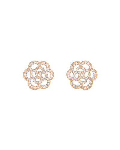 CAMELIA Earrings in 18K Pink Gold with Diamonds
