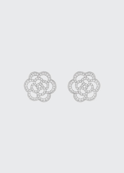 CAMELIA Earrings in 18K White Gold with Diamonds