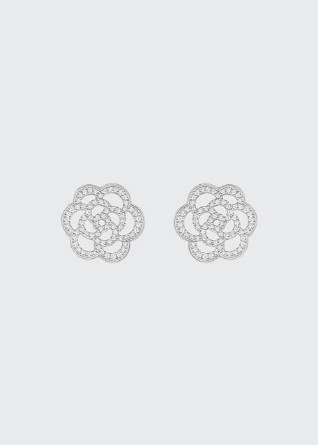 CHANEL CAMELIA Earrings in 18K White Gold with