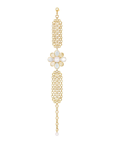 PERLE Chaînes Bracelet in 18K Yellow Gold, Cultured Pearls, Mother-of-Pearl and Diamonds