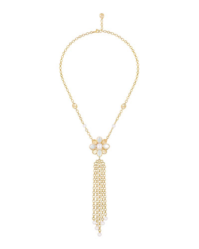 PERLE CHAÎNES Necklace in 18K Yellow Gold, Cultured Pearls, Mother-of-pearl and Diamonds
