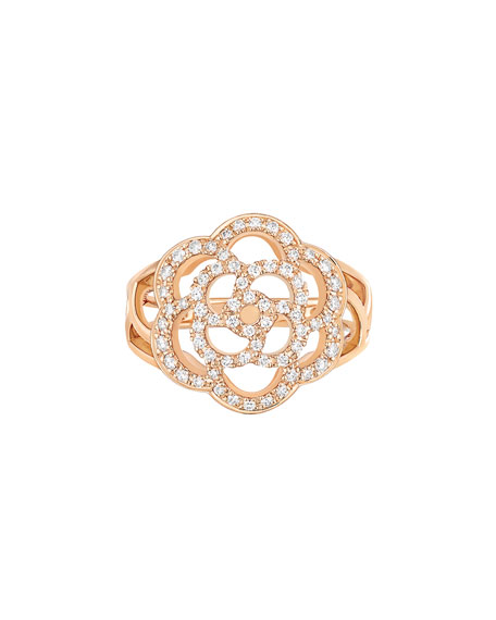 CAMELIA Ring in 18K Pink Gold with Diamonds